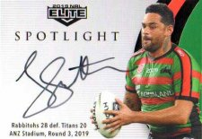 2019 NRL Elite Spotlight Jersey Signature Patch Booklet SLS5 John Sutton Rabbitohs