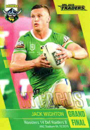 2019 NRL Traders Player in Focus Grand Final GF01 Jack Wighton Raiders