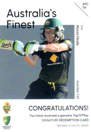 2019/20 Cricket Australia's Finest Signature Redemption AFC6 Alyssa Healy