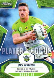 2020 NRL Traders Player in Focus Round 15 IF15 Jack Wighton Raiders