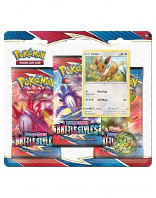 Pokemon TCG Sword & Shield Battle Styles Three Booster Blister